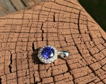 Pendant:  sterling silver with synthetic tanzanite and cubic zirconia