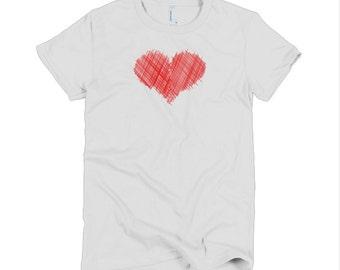 Heart Sketch Women's T-shirt- American Apparel