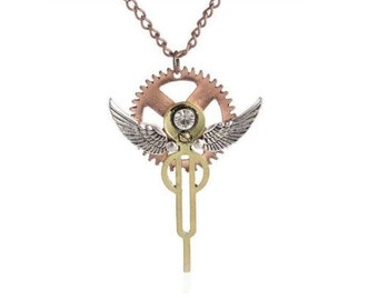 Steampunk Angel Wing Necklace with Gears - Free Shipping