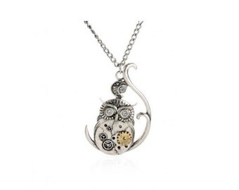 Steampunk Owl Necklace with Gears - Free Shipping