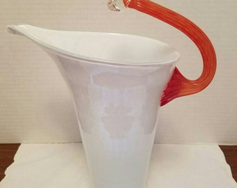 Mid Century White and Tangerine Handblown Pitcher