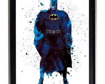 Watercolor Batman Art Print Matte Print Poster 16 x 20 Splatter