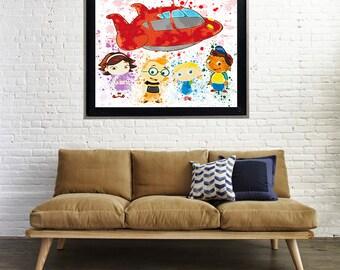 Watercolor Little Einsteins Splatter Art Print Matte Print Poster
