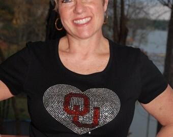Oklahoma Sooners  rhinestone bling shirt,  all sizes, XS,S,M,L,XXL,1X,2X,3X,4X,5X licensed OU heart