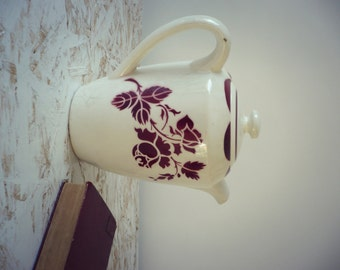 Large teapot red pink patterns - Vintage -.