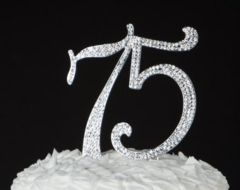 75 Cake Topper, 75th Birthday, 75th Anniversary, Silver Party Supplies Decoration Ideas, Crystal Rhinestone Metal Number, 75 Decorations