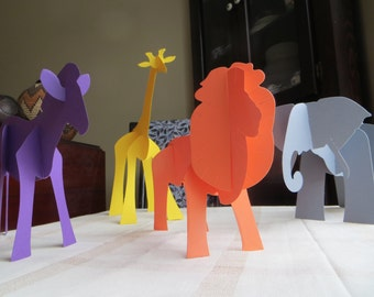 African Safari Animal Paper Set: Lion, Giraffe, Elephant, & Zebra, Die-cut 3D cutouts, Plains of Africa, decoration, party, favors, learning