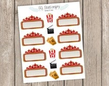 Movie night Planner Stickers, movie Planner Stickers, Erin Condren Planner Stickers, Functional Stickers, ECLP, Filofax, movies stickers