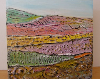 Landscape 'Green Hill' acrylic painting, original art