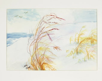 ORIGINAL painting, watercolor, signed, seascape, ocean, beach, water, sand, birds, nature, gift art, 18x24/mounted 22x28
