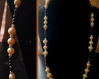 Peach Freshwater Pearls And Black Spinel Necklace