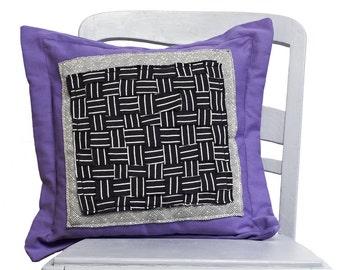 Pillow purple black white