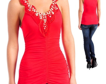 Red Romantic Ruched Rosette Pearl Tank Top