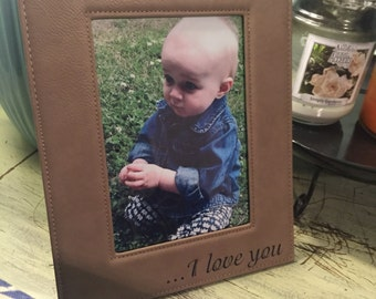 """Custom laser engraved 8""""x10"""" suede picture frame"""