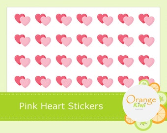Pink Heart Hershey Kiss Stickers, Valentine's Day Heart Stickers, Planner Stickers