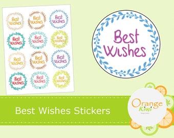 Best Wishes Stickers - Leafy Wreath Stickers