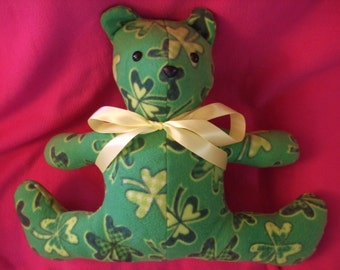Plush teddy Bear, Stuffed Bear,St. Patrick's day, plush fleece bear, Shamrocks, St. Patrick's Day, toy teddy bear, free shipping