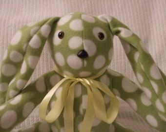 Plush stuffed rabbit, polar fleece stuffed Rabbit, Lime Green and White Polka Dot Stuffed Easter Rabbit, plush Rabbit, free shipping