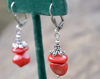 Coral Nugget Earrings w/ Sterling Hardware