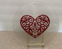 Round Glass Cutting Board or Tray with Heart Motif - Folk Art - Valentine'sDay