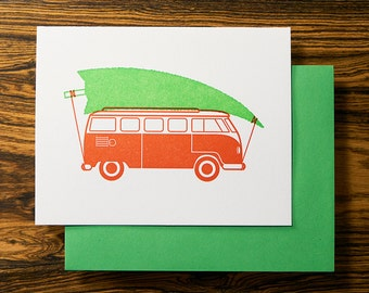 Vintage Bus - Fun Letterpress Holiday Christmas Card