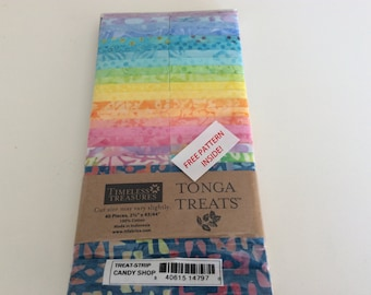 Tonga Treat 2.5 inch strip set, Candy Store Jelly Roll Quilting Fabric Batik