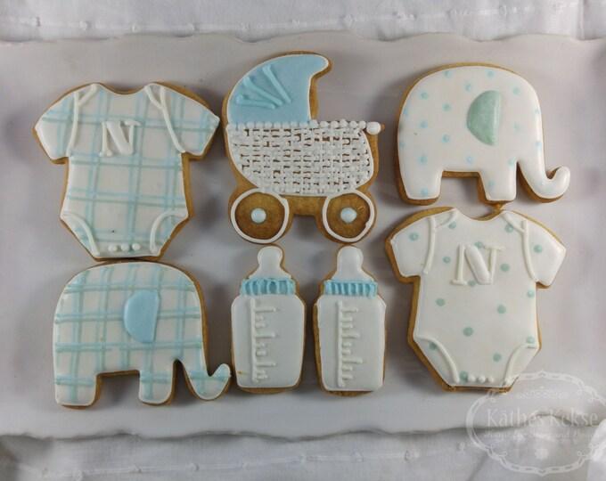 Baby-Kekse in hellblau,  Set mit 7 Keksen, Babyshower, Kinderwagen, Milchflasche, personalisierbar, Geschenk