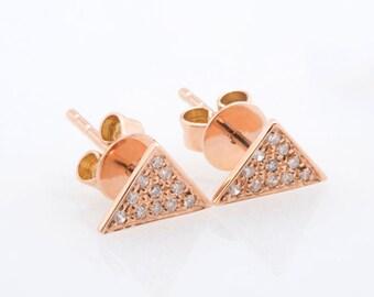 Triangle Shape Diamond Earring