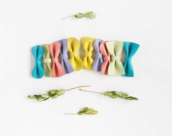 Mini Baby/Girl Leather Hair Bow Crocodile Clip or Nylon Headband, Bright Spring Mix, Yellow, Lavender, Coral, Ocean Blue, & Green Apple