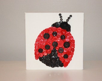 Ladybug, Button Art, Ladybug Button Art, Ladybug Decor