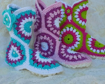 Crochet booties,  house crochet booties.  House slippers. Granny square slippers