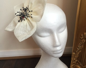 Ivory and Black Chanix Millinery flower fascinator