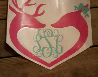 Buck and Doe monogrammed Decal