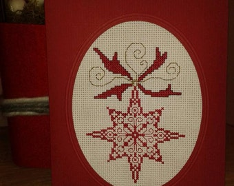 Poinsettia red Christmas card