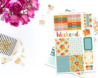 Tangerine floral EC/vertical weekly kit
