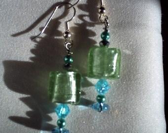 light green dangle earrings