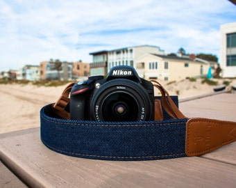 Camera Strap - Navy Blue Demin camera strap for DSLR or SLR, DSLR Camera Strap. Camera accessories. Canon camera strap. Nikon camera strap.