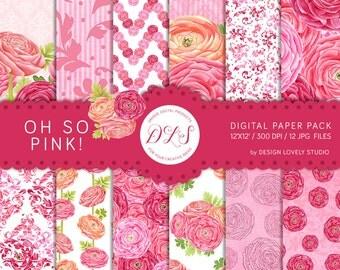 "Floral Digital Paper: ""Oh So Pink"" Floral Pattern Pink Paper Ranunculus Floral Background Romantic Wedding Nursery Scrapbook Printable"