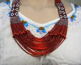 The flame of love - Ukrainian Handmade Beaded Necklace