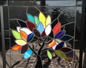 Colorful Tree #2 - Stained Glass Window Panel