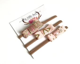Petite Headband Set | Hair Clip | Clips | Pink Gold | Small Mini Bow | Skinny Nylon Headband | Baby Hair Bows | Babies, Toddlers & Children