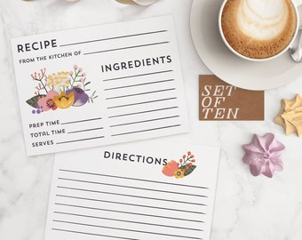 Floral Recipe Cards - Set of 10 cards with flowers and typography for cooking and recipe sharing