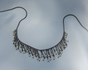 fringed necklace, silver metal beads