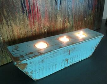 Distressed wood tea light candle holder in Aqua.