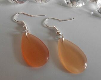 Earrings drop sugar plum orange