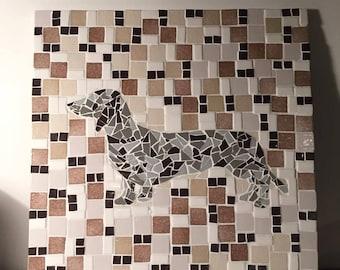 Dachshund mosaic table
