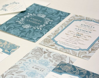 Royal Floral Wedding Invitation Sample