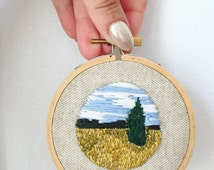 Valley landscape embroidery 3 inch hoop art Handstitched