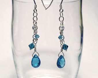 Teal swarovski crystal and sterling silver dangle earrings