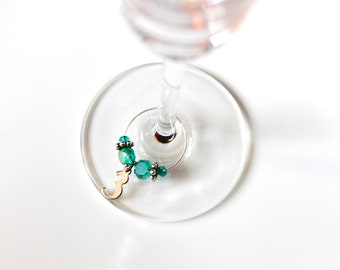 Turquoise Number Wine Charms